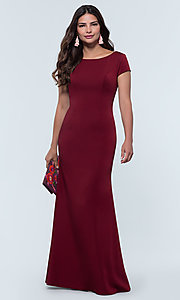 Image of long bridesmaid dress with sleeves. Style: KL-200133 Detail Image 5
