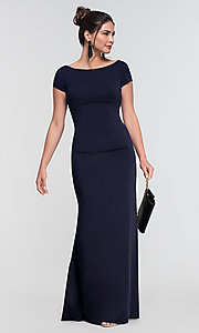 Image of long bridesmaid dress with sleeves. Style: KL-200133 Detail Image 3