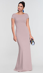Image of long bridesmaid dress with sleeves. Style: KL-200133 Detail Image 8