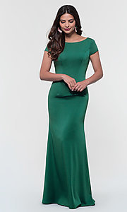 Image of long bridesmaid dress with sleeves. Style: KL-200133 Detail Image 6