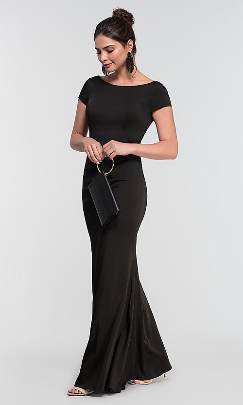 Image of long bridesmaid dress with sleeves. Style: KL-200133 Front Image
