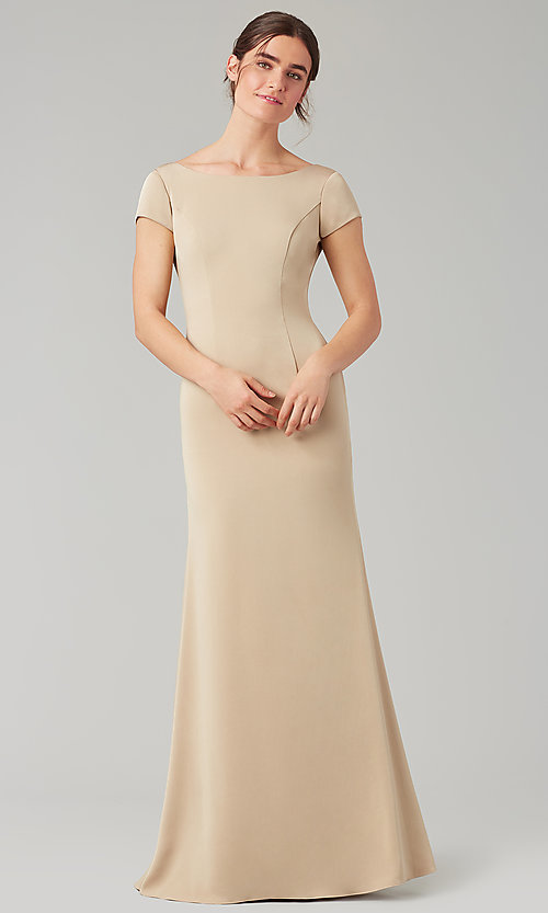 Image of long bridesmaid dress with sleeves. Style: KL-200133 Detail Image 2