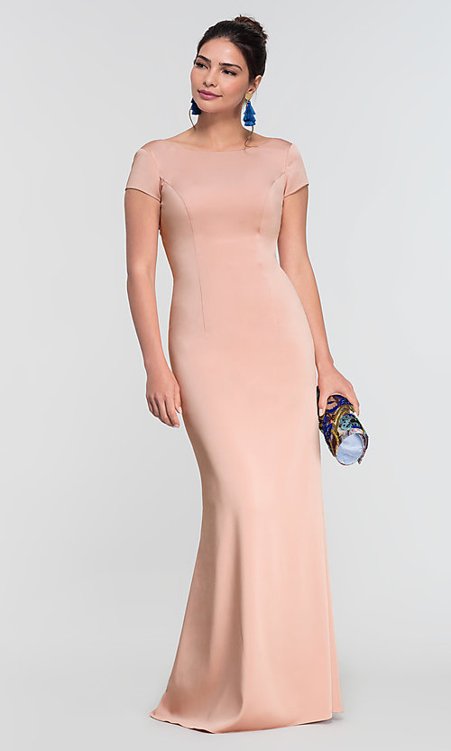 Image of long bridesmaid dress with sleeves. Style: KL-200133 Detail Image 4