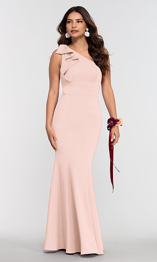 Image of one-shoulder stretch satin long bridesmaid dress. Style: KL-200134 Front Image