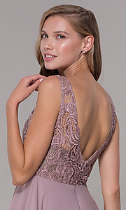 Image of short a-line lace-bodice homecoming dress by PromGirl. Style: DQ-PL-3098 Detail Image 2