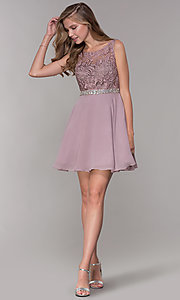 Image of short a-line lace-bodice homecoming dress by PromGirl. Style: DQ-PL-3098 Detail Image 3