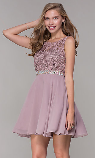 Short A-Line Lace-Bodice Homecoming Dress by PromGirl
