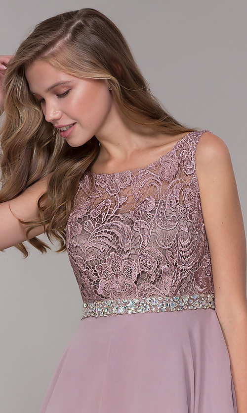 Image of short a-line lace-bodice homecoming dress by PromGirl. Style: DQ-PL-3098 Detail Image 1
