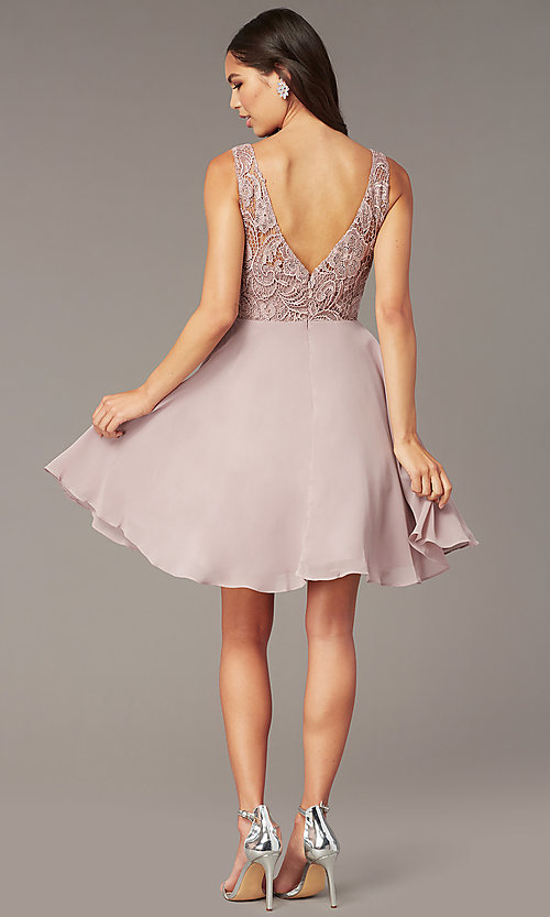 Image of short a-line lace-bodice homecoming dress by PromGirl. Style: DQ-PL-3098 Back Image