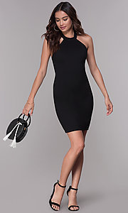 Image of jersey racer-front homecoming dress with lace back. Style: SJP-AS101 Front Image