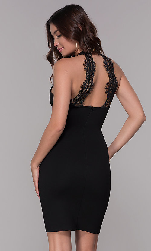 Image of jersey racer-front homecoming dress with lace back. Style: SJP-AS101 Back Image