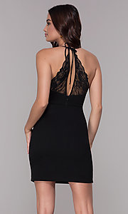 Image of short homecoming dress with lace-inset v-neckline. Style: SJP-AS102 Back Image