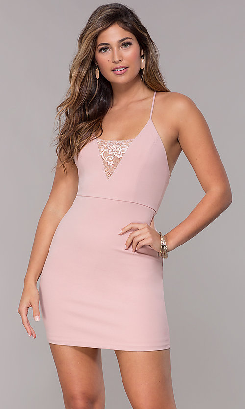 Image of short homecoming dress with lace-inset v-neckline. Style: SJP-AS102 Detail Image 3