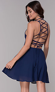 Image of short corset-tie-back homecoming party dress. Style: SJP-AS103 Detail Image 2