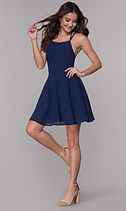 Image of short corset-tie-back homecoming party dress. Style: SJP-AS103 Detail Image 3