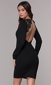 Image of long-sleeve short open-back homecoming dress. Style: SJP-AS104 Front Image