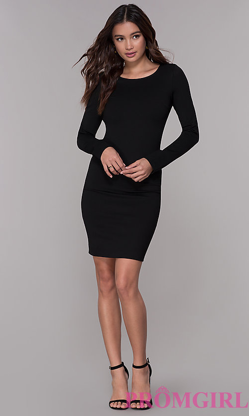 Image of long-sleeve short open-back homecoming dress. Style: SJP-AS104 Detail Image 2