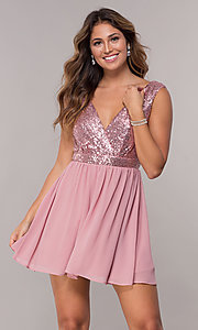 Image of short sequin-bodice v-neck hoco dress. Style: SJP-AS105 Front Image