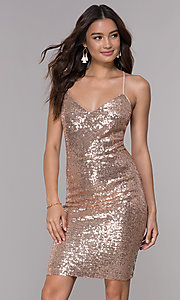 Image of short sequin wide-v-neck homecoming dress Style: SJP-AS106 Detail Image 1