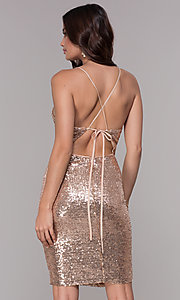 Image of short sequin wide-v-neck homecoming dress Style: SJP-AS106 Back Image