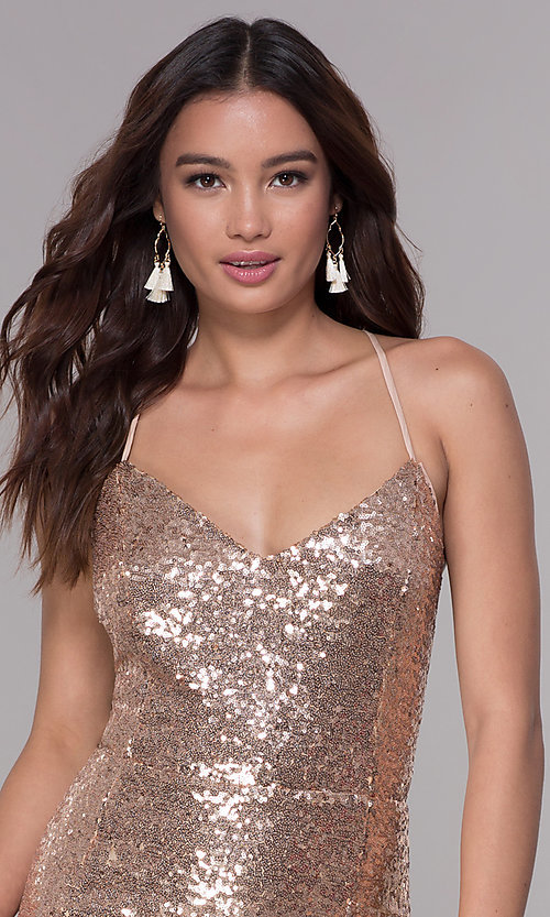 Image of short sequin wide-v-neck homecoming dress Style: SJP-AS106 Detail Image 2