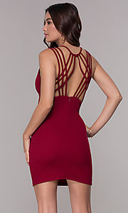 Image of crepe caged-back short homecoming dress. Style: SJP-AS107 Detail Image 5