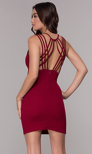 23813a2303c1 Open-Back Crepe Homecoming Short Dress - PromGirl