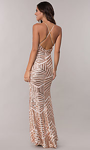 Image of sequin vintage-inspired long evening dress. Style: MCR-2620 Back Image