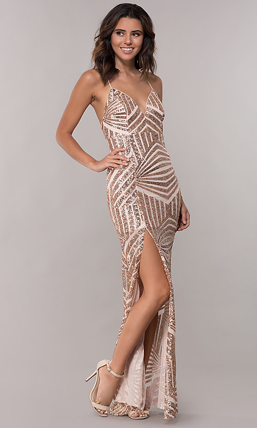 Image of sequin vintage-inspired long evening dress. Style: MCR-2620 Front Image