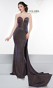 Image of long metallic strapless prom dress with train. Style: CD-2076 Front Image