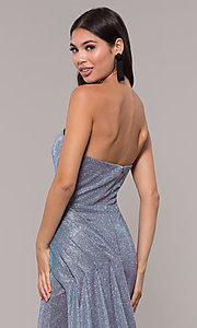 Image of long metallic strapless prom dress with train.