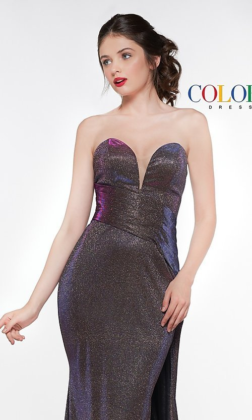 Image of long metallic strapless prom dress with train. Style: CD-2076 Detail Image 1