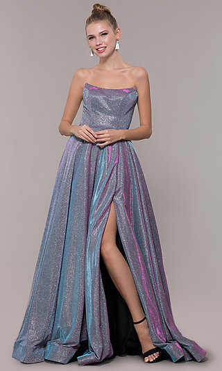Long Strapless Iridescent Ballgown Style Prom Dress
