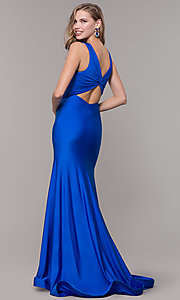 Image of knotted-bodice long v-neck prom dress with train. Style: CD-2138 Back Image