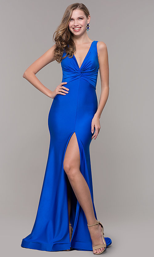 Image of knotted-bodice long v-neck prom dress with train. Style: CD-2138 Front Image