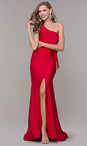 Image of long one-shoulder prom dress with slit. Style: CD-2133 Detail Image 5