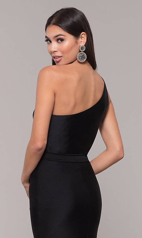 Image of long one-shoulder prom dress with slit. Style: CD-2133 Detail Image 2