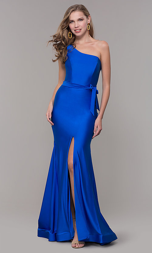 Image of long one-shoulder prom dress with slit. Style: CD-2133 Detail Image 3