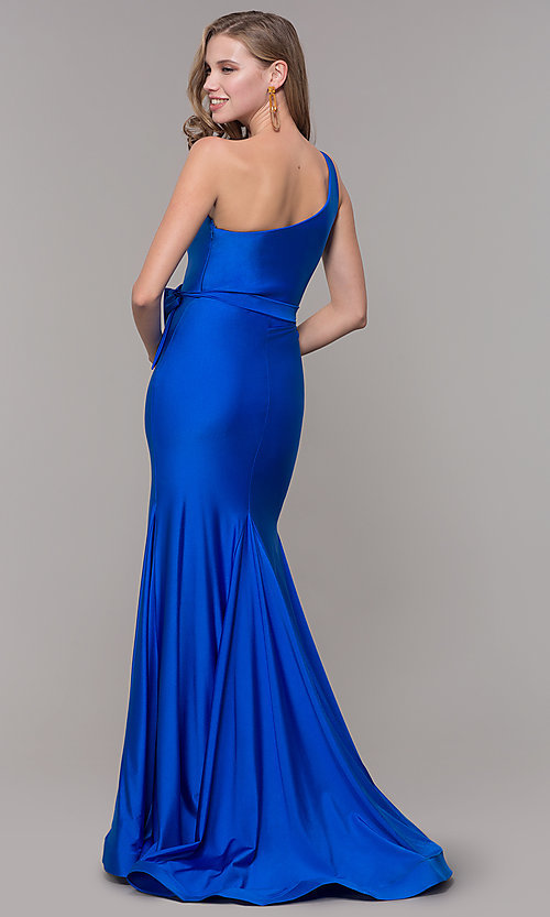Image of long one-shoulder prom dress with slit. Style: CD-2133 Detail Image 4