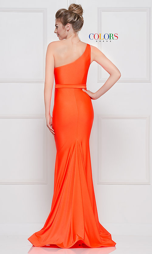 Image of long one-shoulder prom dress with slit. Style: CD-2133 Detail Image 6