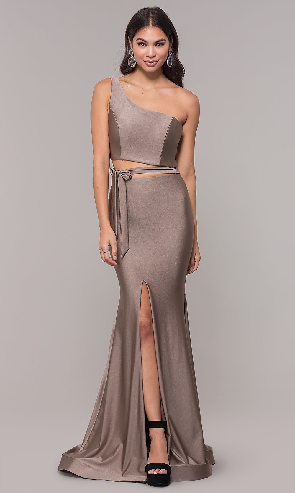 aa97ada2b6b Long One-Shoulder Prom Dress with Side Cut Out