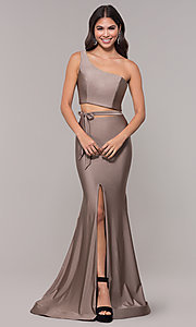 Image of long one-shoulder prom dress with side cut out. Style: CD-2137 Detail Image 3