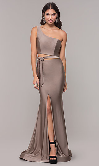 Long One-Shoulder Prom Dress with Side Cut Out