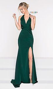 Image of long classic v-neck formal open-back dress. Style: CD-1995 Detail Image 7