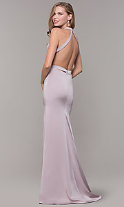 Image of long classic v-neck formal open-back dress. Style: CD-1995 Back Image