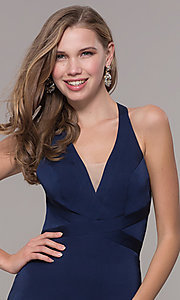 Image of long classic v-neck formal open-back dress. Style: CD-1995 Detail Image 5