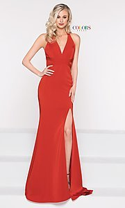 Image of long classic v-neck formal open-back dress. Style: CD-1995 Detail Image 8