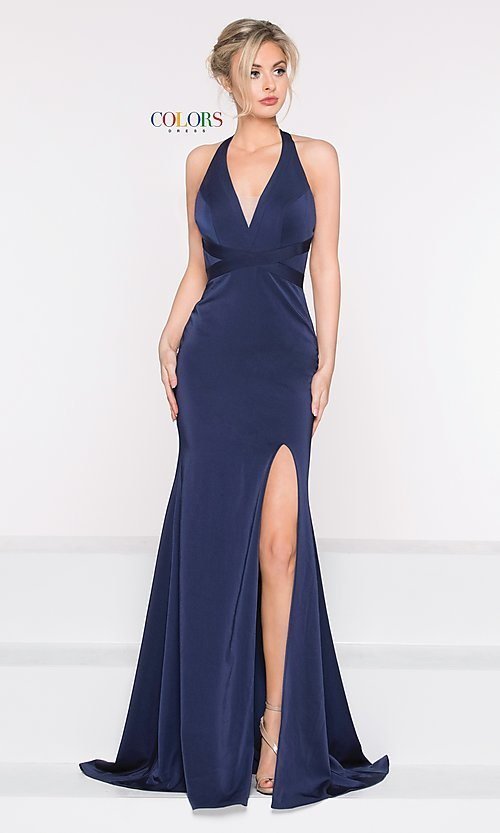 Image of long classic v-neck formal open-back dress. Style: CD-1995 Front Image