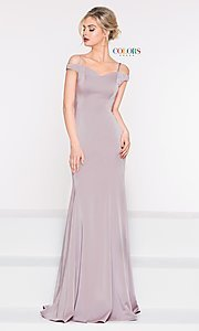 Image of off-the-shoulder sweetheart evening dress. Style: CD-2017 Front Image