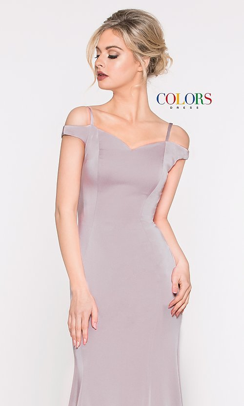 Image of off-the-shoulder sweetheart evening dress. Style: CD-2017 Detail Image 1
